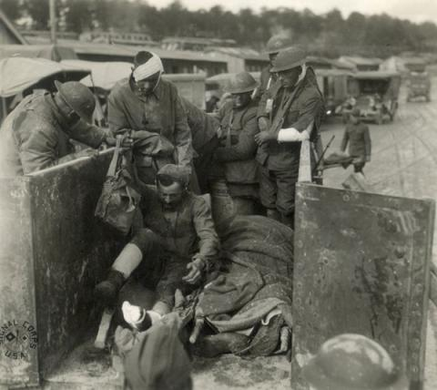 Wounded U.S. Soldiers in France - WWI Education Social Studies Tragedies and Triumphs Visual Arts World War I World History American History