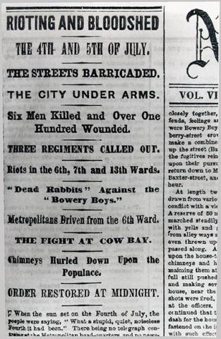 Reports of Gang-Related Violence in NYC on July 4-5, 1857