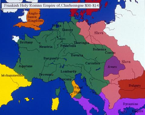 Map depicts the Frankish Holy Roman Empire of Charlemagne