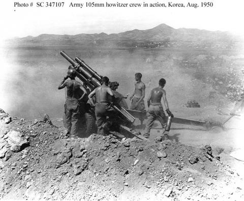US Army M105mm Howitzer Crew in Action American History Cold War Government Social Studies