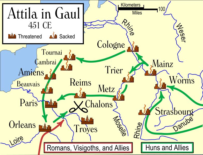 Gaul World Map.Attila In Gaul