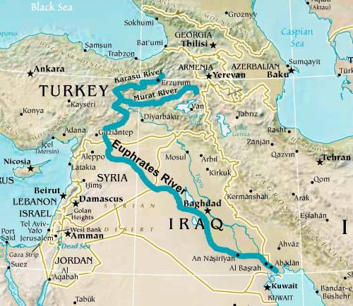 Map Of Asia Euphrates River.Euphrates River Key Facts