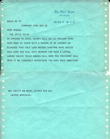 Jackie Robinson to Eisenhower - Telegram (Illustration) Civil Rights Sports African American History American History
