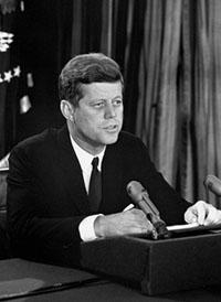 Broadcast photograph of U.S. President Kennedy giving a speech on October 22, 1962