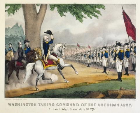 WASHINGTON TAKES COMMAND (Illustration) American History American Presidents Biographies Famous Historical Events Geography Revolutionary Wars Civil Rights American Revolution