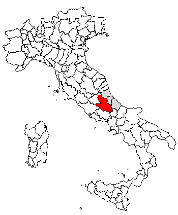 Location of LAquila Central Italy