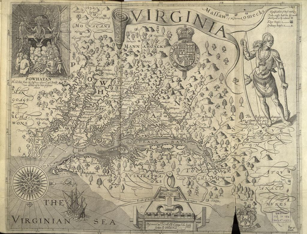 """john smith from the general history of virginia new england and the summer isles The generall historie of virginia, new england and the summer isles captain john smith (1580-1631) london 1632 loa: 10 7/8"""" woa: 7 ½"""" promised gift of thomas a gray in memory of anne p and bahnson gray."""