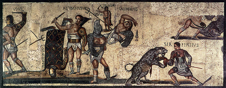Strong Men and Wild Animals - Mural of Roman Games