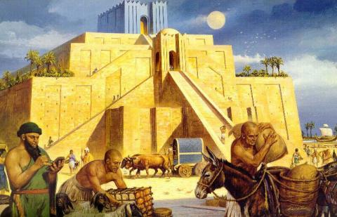 Ur - Artist Rendering of Ziggurat Disasters Ancient Places and/or Civilizations Archeological Wonders Geography World History