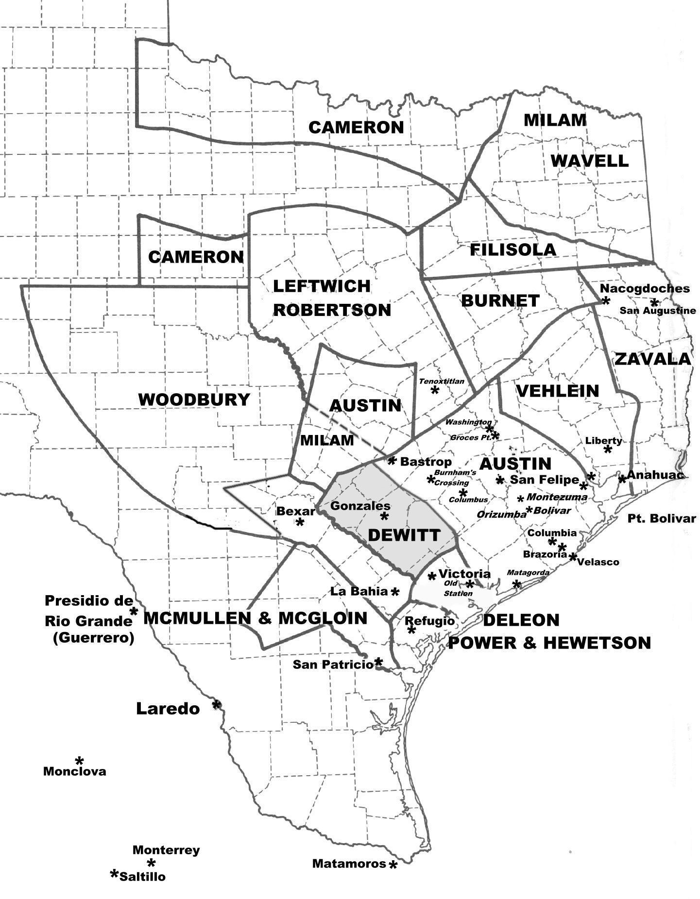 Map Showing Texas Land Grants