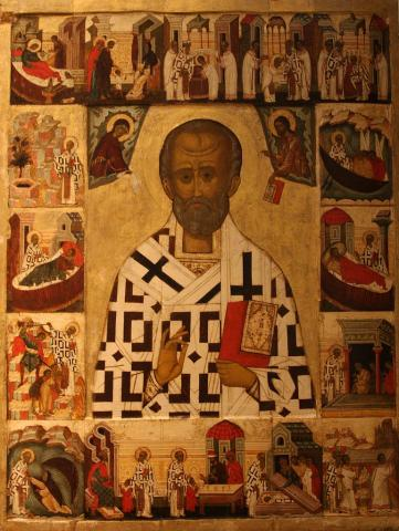SAINT NICHOLAS, GIVER OF GIFTS (Illustration) Ancient Places and/or Civilizations Archeological Wonders Biographies Fiction World History Film History Social Studies Famous People