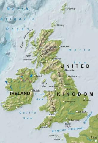 Map of Ireland and the United Kingdom Geography Disasters History Social Studies