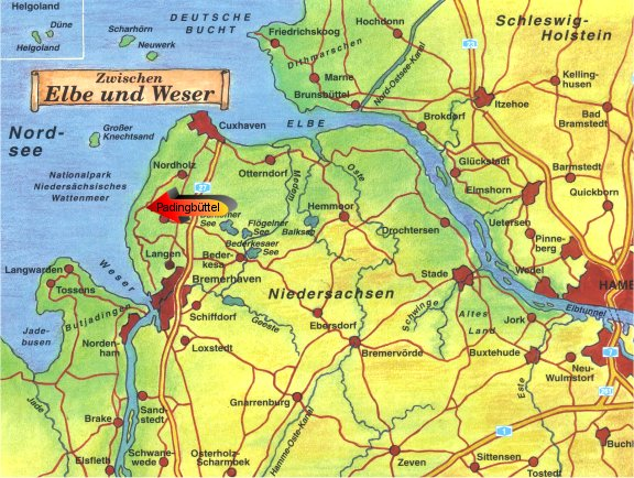 map depicting the elba and weser rivers