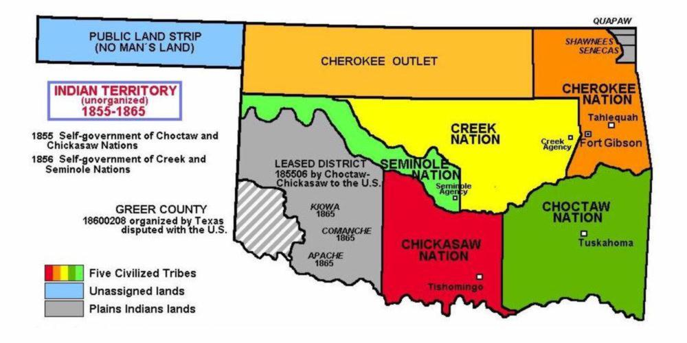 Indian Territory Divided by Tribes