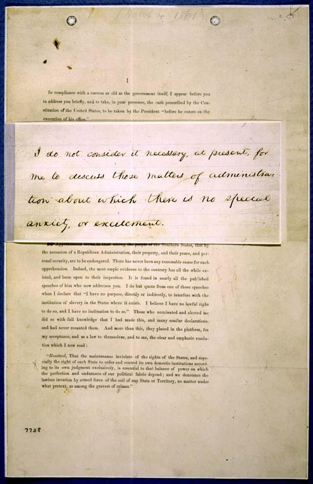 Abraham Lincoln Draft Of 1st Inaugural Address