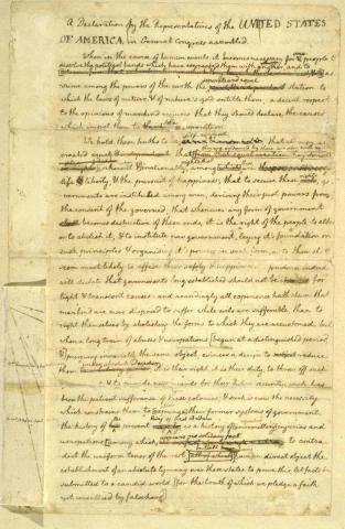 Declaration of Independence - Original, 1st Page American Revolution Biographies Famous Historical Events Famous People Government History Law and Politics Revolutionary Wars Social Studies American History