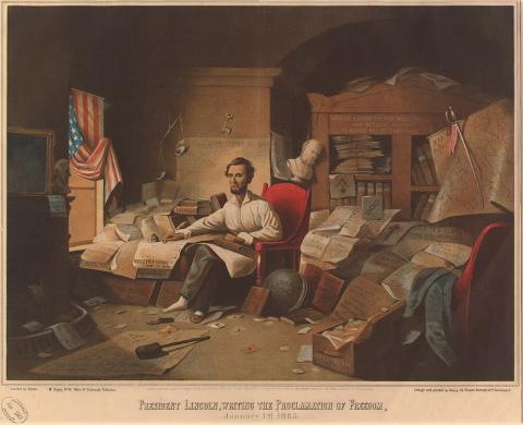 President Lincoln - Writing the Freedom Proclamation Law and Politics American History Civil Rights Social Studies Visual Arts
