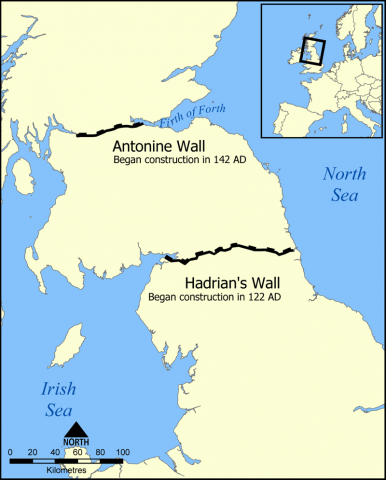 Map Showing Location of Hadrian's Wall Ancient Places and/or Civilizations Geography