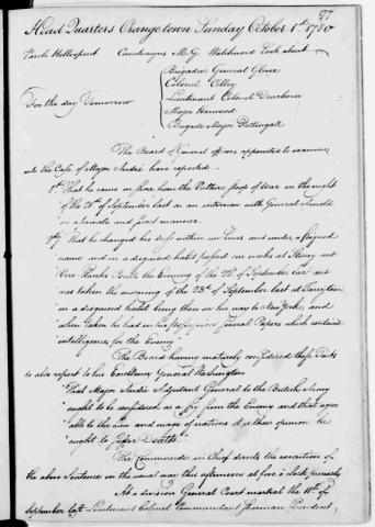Order for Execution of John Andre