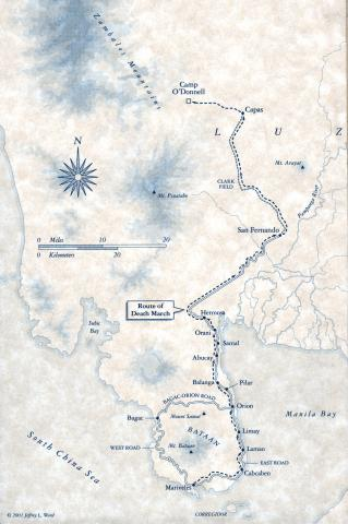 Map - Location of Camp O'Donnell and Death March Route Famous Historical Events Social Studies World War II Geography Disasters