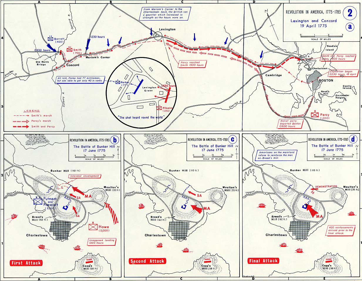 Three Assaults At Bunker Hill Annotated Map - Us map that can be annotated