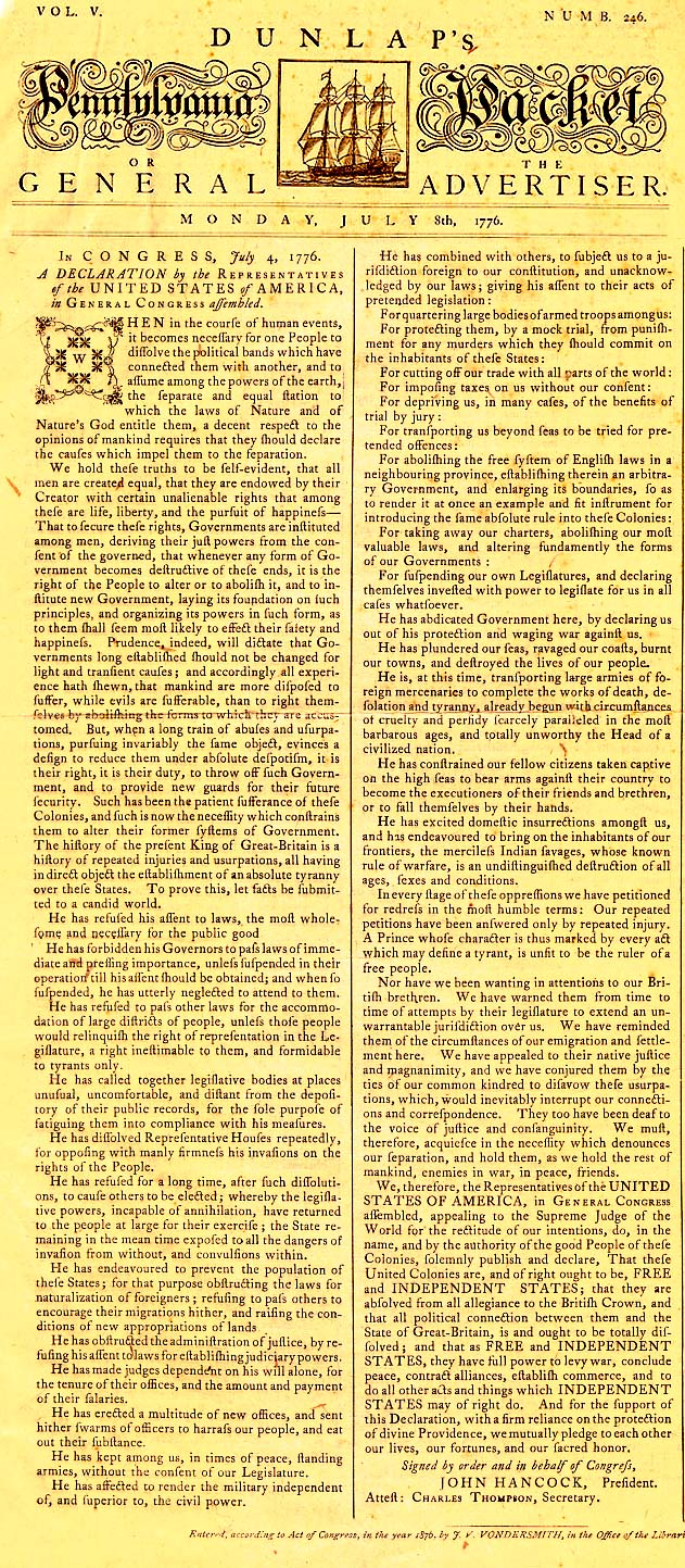 Dunlap's Pennsylvania Packet - July 8, 1776 Article