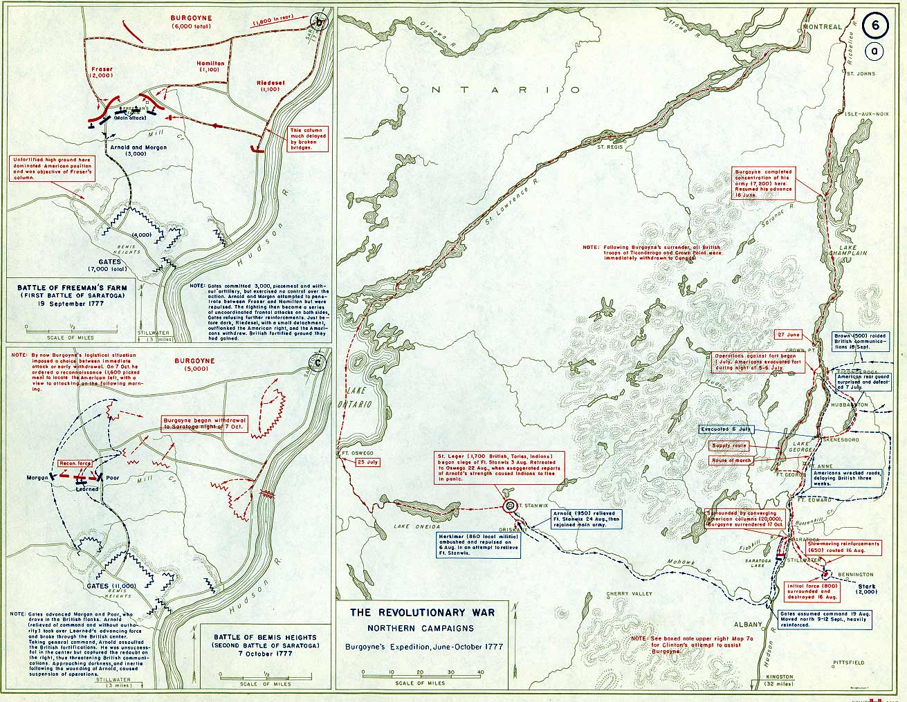 Battles of Saratoga, 1776 - Annotated Maps from USMA