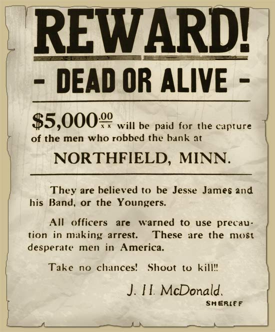 Wanted Poster: Jesse James, Dead or Alive