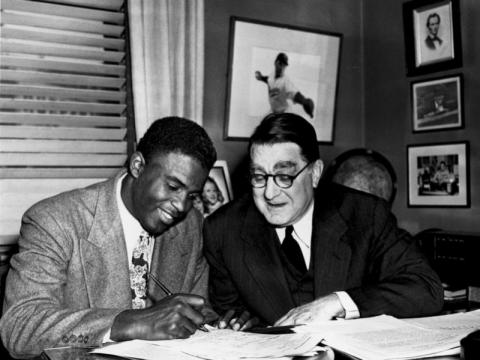 Jackie Robinson Signs a Dodgers Contract Tragedies and Triumphs American History African American History Civil Rights Famous Historical Events Famous People Social Studies Sports