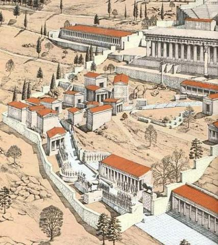 300 - Reconstruction of Delphi, Home of Delphic Oracle Archeological Wonders Ancient Places and/or Civilizations Geography History Social Studies World History
