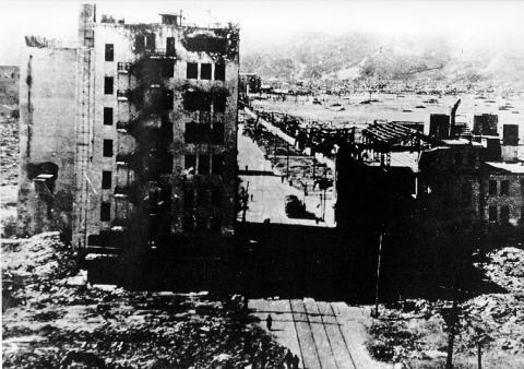 Photograph depicting the destruction inflicted at Hiroshima