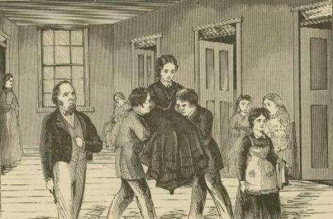 Illustration of Elizabeth Packard committed to the hospital