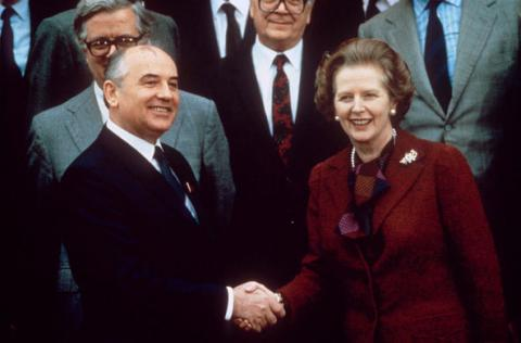 Thatcher and Gorbachev - 1988 World History Russian Studies Government Famous People Social Studies