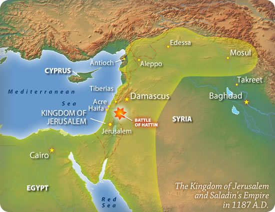 The Kingdom of Jerusalem and Saladin's Empire in 1187 A.D. on beirut on map, islam on map, constantinople on map, damascus on map, rome on map, medina on map, london on map, israel map, aleppo on map, baghdad on map, amman on map, cairo on map, golan heights on map, alexandria on map, mecca on map, middle east on map, kabul on map, juba on map, gaza on map, tel aviv on map,