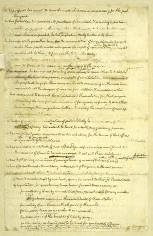 Declaration of Independence-2nd Page of Manuscript