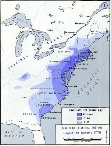 Population Density, American Colonies, 1775