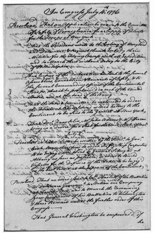 Letter-Hancock to Washington re Declaration