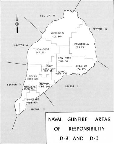 Naval Gunfire Area Map