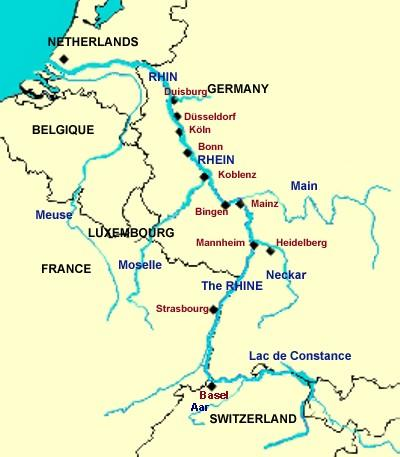 Map Of Rhine River Rhine River   Map