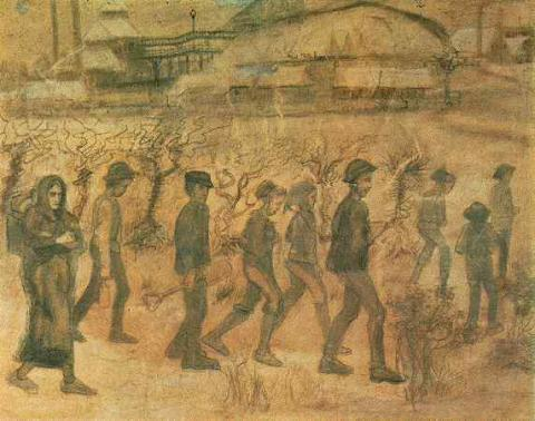 Vincent van Gogh - Drawing of Cuesmes Miners Biographies Tragedies and Triumphs Visual Arts Nineteenth Century Life