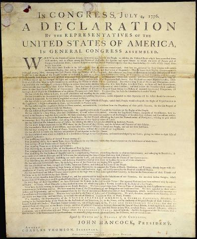 Dunlap Broadside-First Printing, Declaration