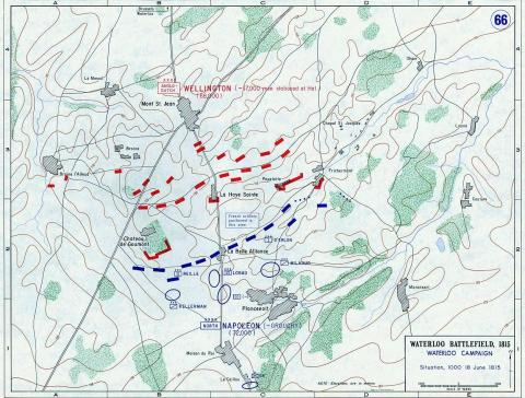 Map-Waterloo Battlefield, 1815