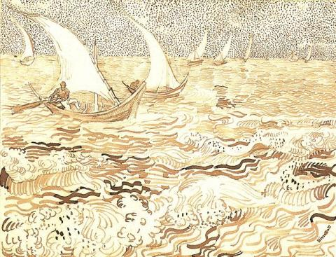 Fishing Boats at Sea, Drawing by van Gogh Famous People Social Studies Tragedies and Triumphs Nineteenth Century Life Visual Arts