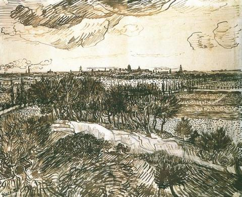 View of Arles, Drawing by van Gogh Famous People Social Studies Visual Arts Nineteenth Century Life