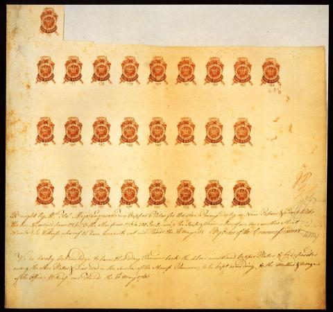 Stamp Act-One-Penny Stamps, 1765