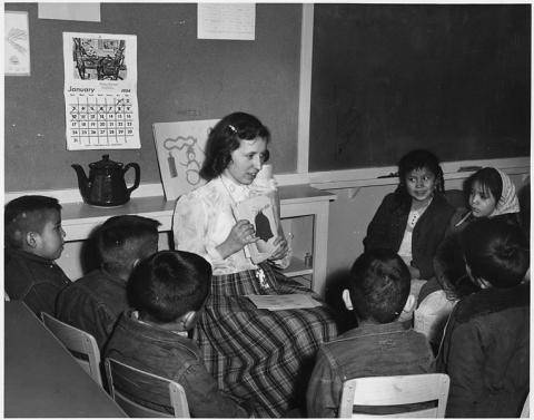 Navajo Children Learning English at Their Day School Native-Americans and First Peoples  Education Visual Arts