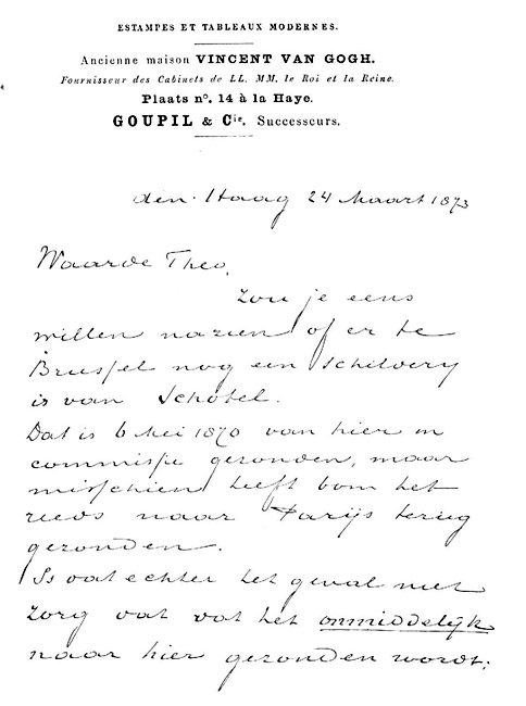 vincent van gogh wrote this march 24 1873 letter to his brother theo in it he asks him to check on a painting by schotel johannes christiaan schotel