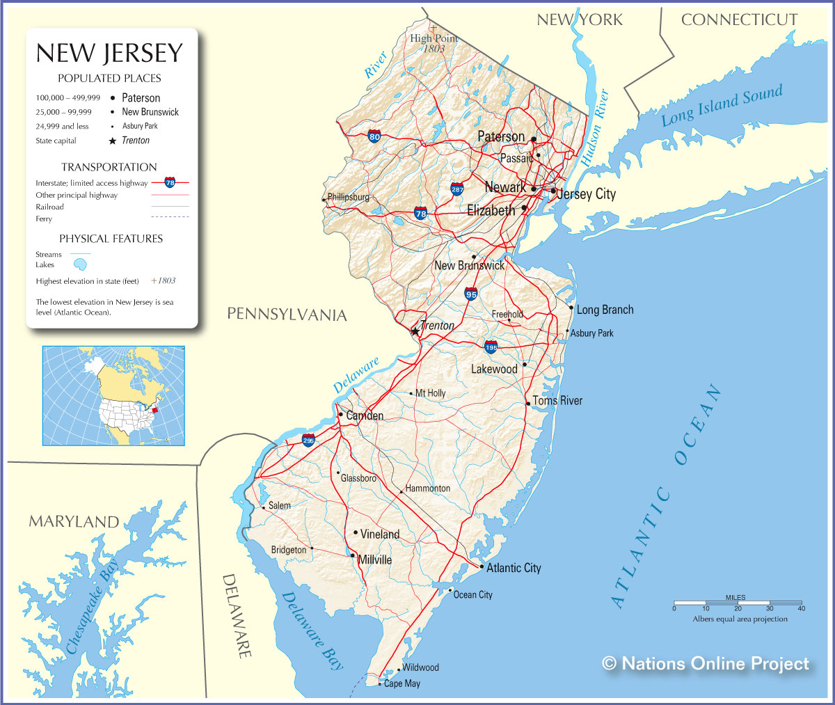 Map Of New Jersey World Map - New jersey on a map of the usa