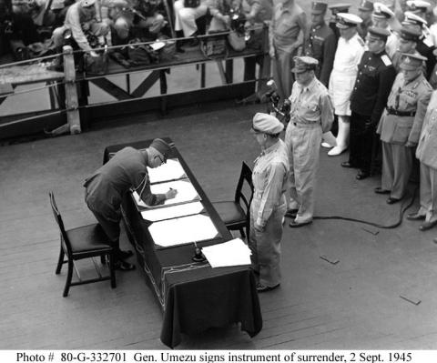 SURRENDER on the USS MISSOURI (Illustration) American History American Presidents Disasters Famous Historical Events Famous People Government Social Studies World History Ethics World War II