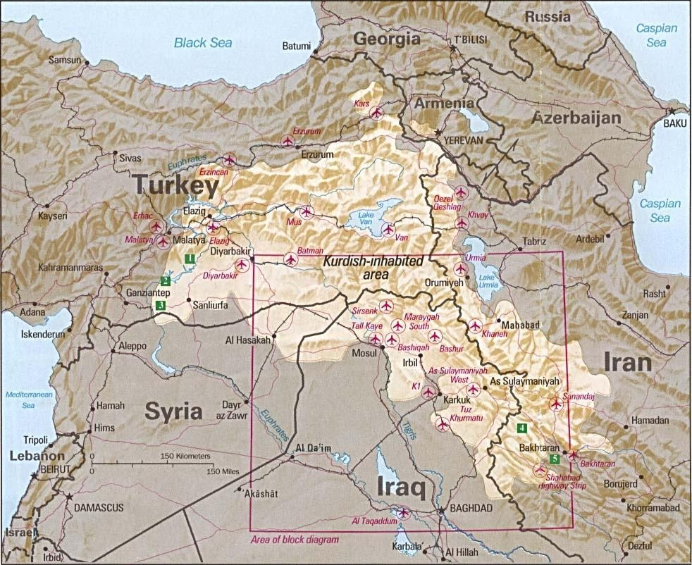 map depicting tikrit and kurdish areas in iraq